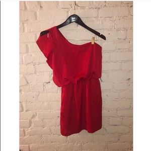 One Shoulder Dress Ruffle Red Dress
